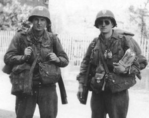 The photo at left is from WWII, 1945; my Grandfather, Clyde W. Kirkman, is on the left and his buddy Joe Melka is on the right. The photo was made in April 1945, in Germany, with a simple box camera just before the meeting or link up at the Elbe River between the U.S. and Russian troops.