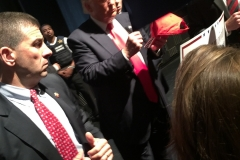 Walker made a bee-line to the front to get his hat signed! Waiting to Trump to make his way to us...