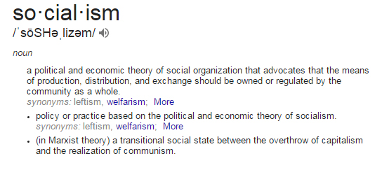 Definition of Socialism: a political and economic theory of social organization that advocates that the means of production, distribution, and exchange should be owned or regulated by the community as a whole